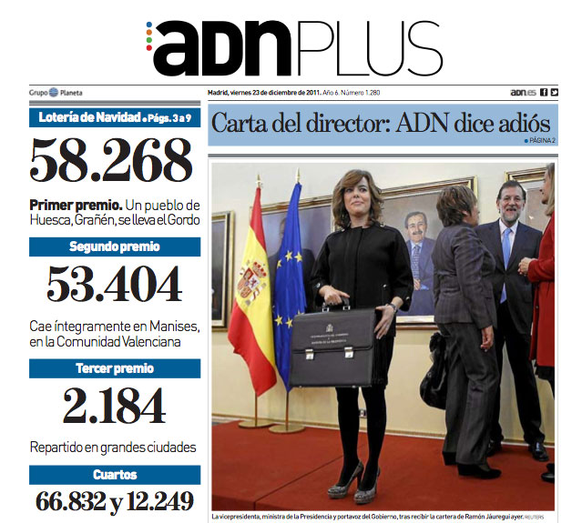 El Diario »ADN» desea suerte al resto de periódicos tras su cierre definitivo