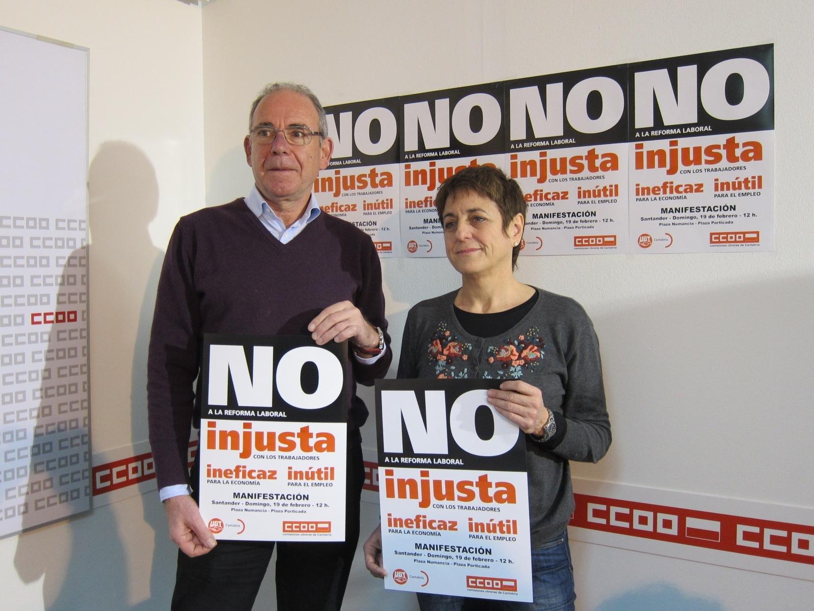 UGT y CC.OO. convocan una manifestación el domingo contra una reforma laboral que «fomenta el paro y recorta derechos»