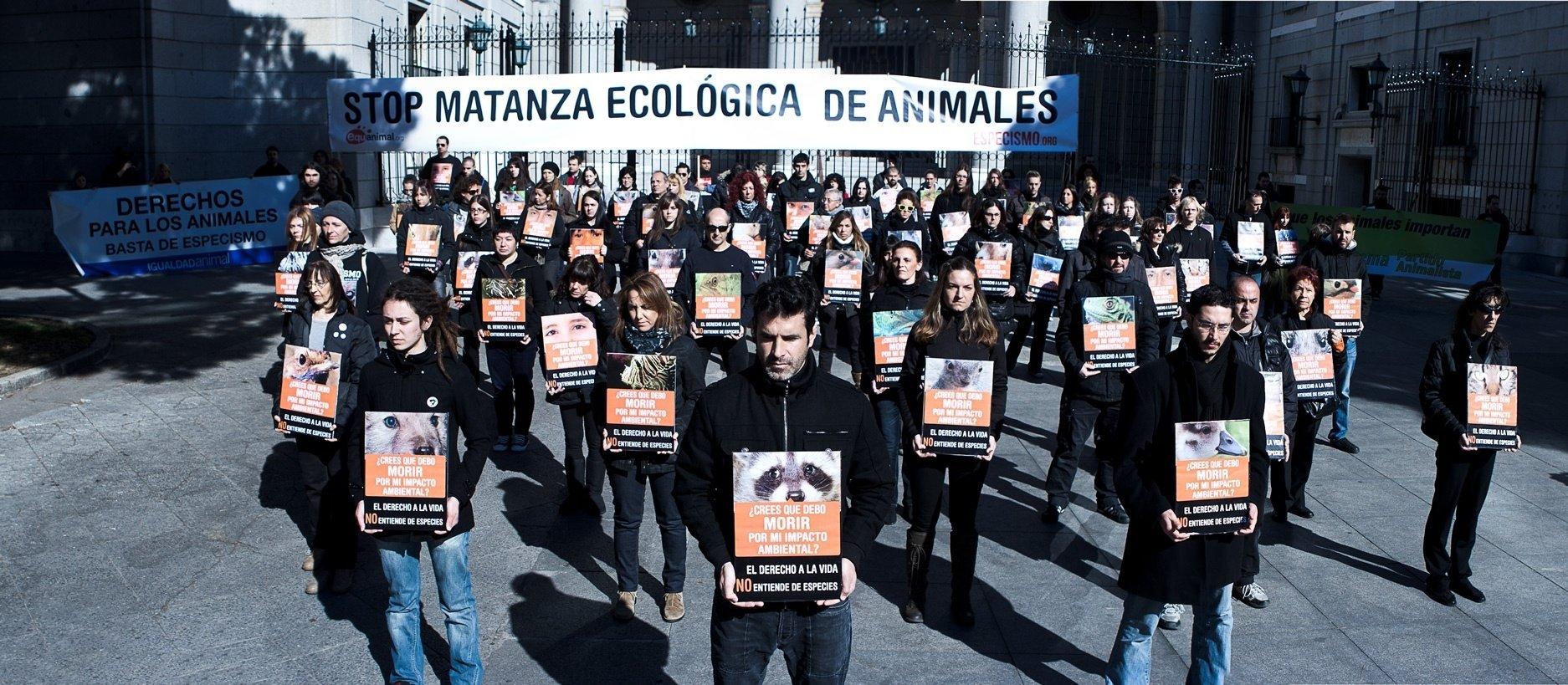 Un centenar de personas se manifiestan en Madrid para protestar contra el exterminio legal de animales «invasores»