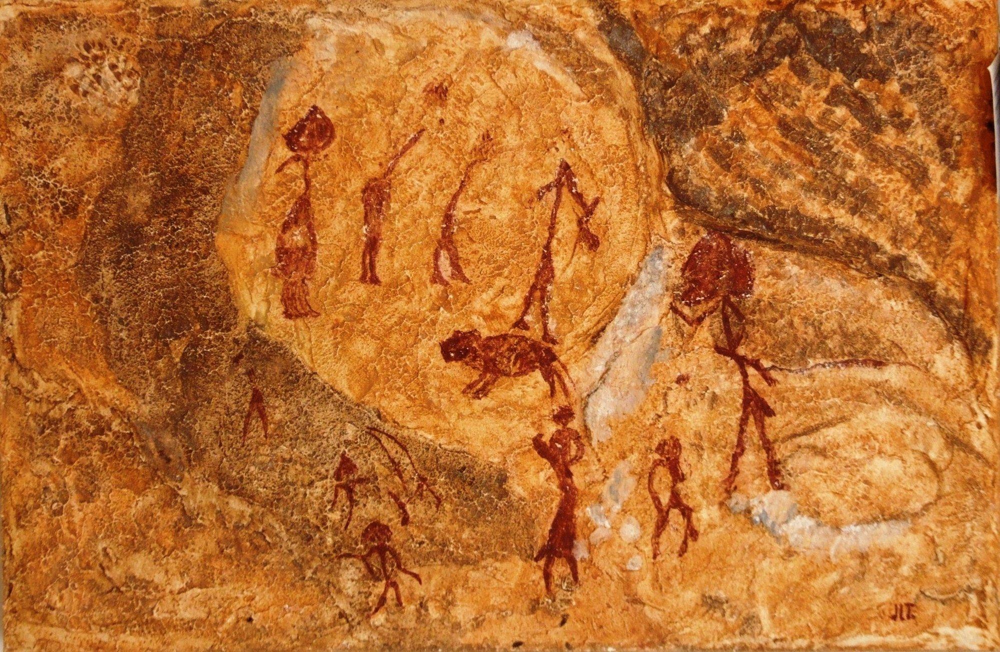 La muestra »Tras las huellas del hombre» acerca las pinturas rupestres de los yacimientos de la Región de Murcia
