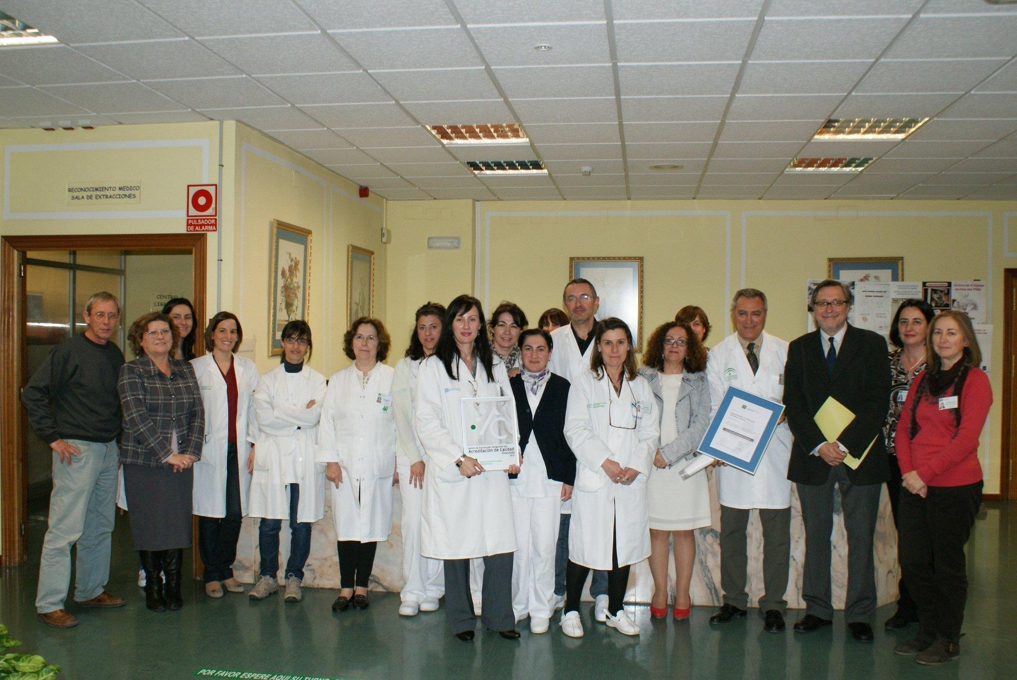 El Centro de Transfusión de Málaga recibe el sello de calidad