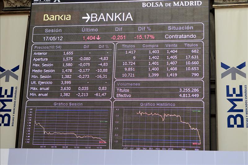 Bankia entra en caída libre con un descenso del 28,28 por ciento al mediodía