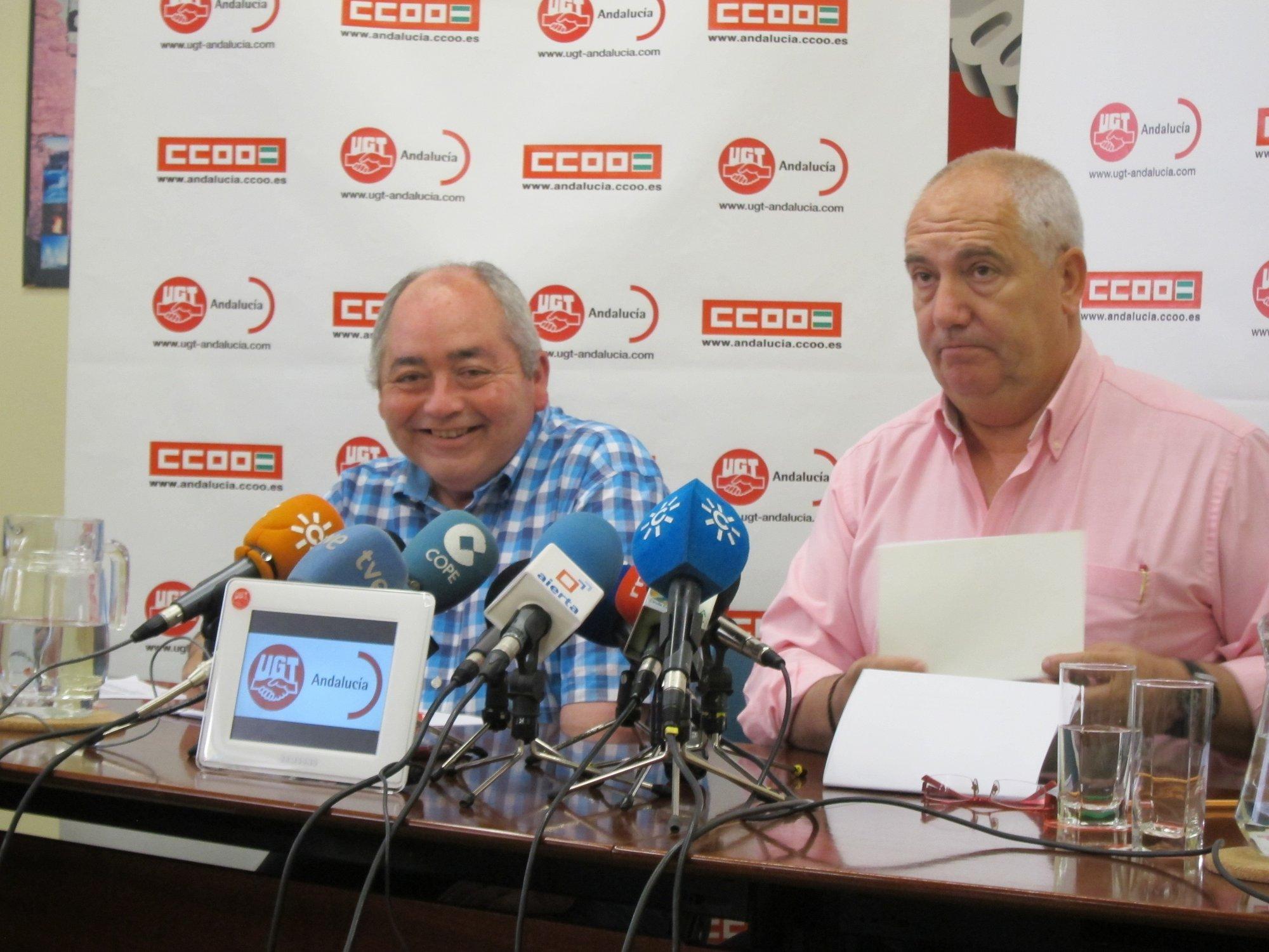 UGT y CCOO temen que un rechazo del plan de la Junta provoque la intervención de Andalucía y están en contra de recortes