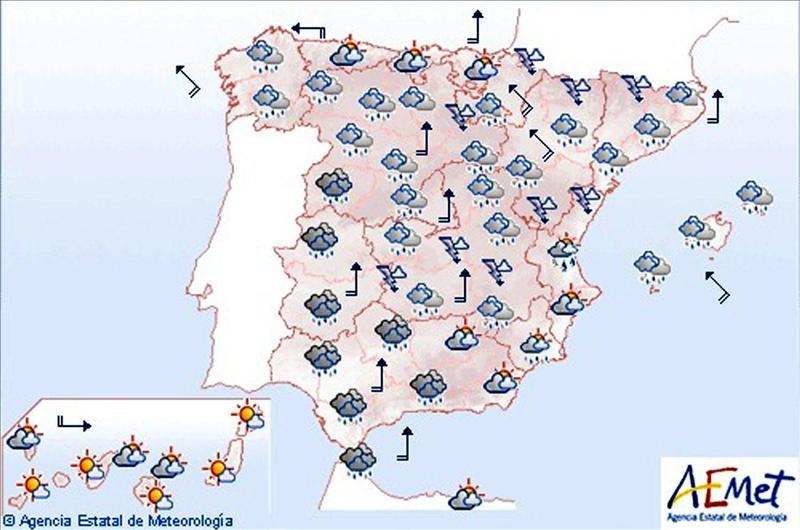 Sólo Canarias se libra hoy del agua, y llega el primer fin de semana frío de verdad