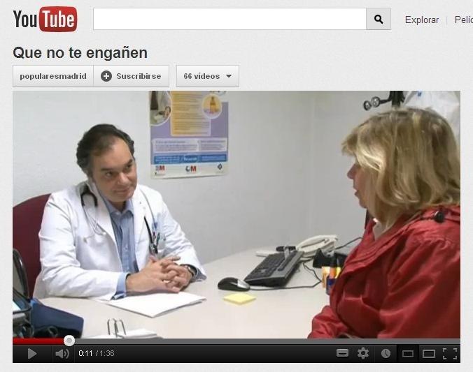 PP de Madrid difunde un vídeo en Youtube en respuesta a la huelga sanitaria donde reivindica que la sanidad es pública