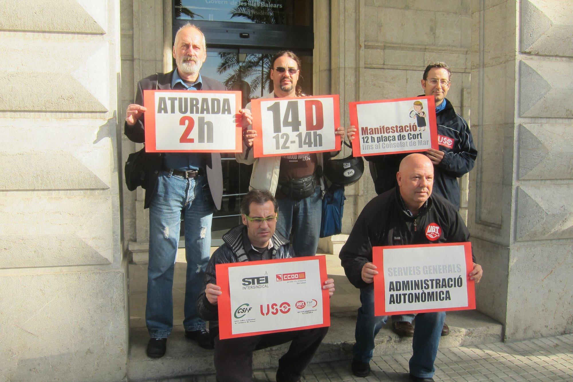 Los sindicatos convocan el 14 de diciembre un paro parcial de 2 horas   que afecta a 6.000 empleados públicos de la CAIB