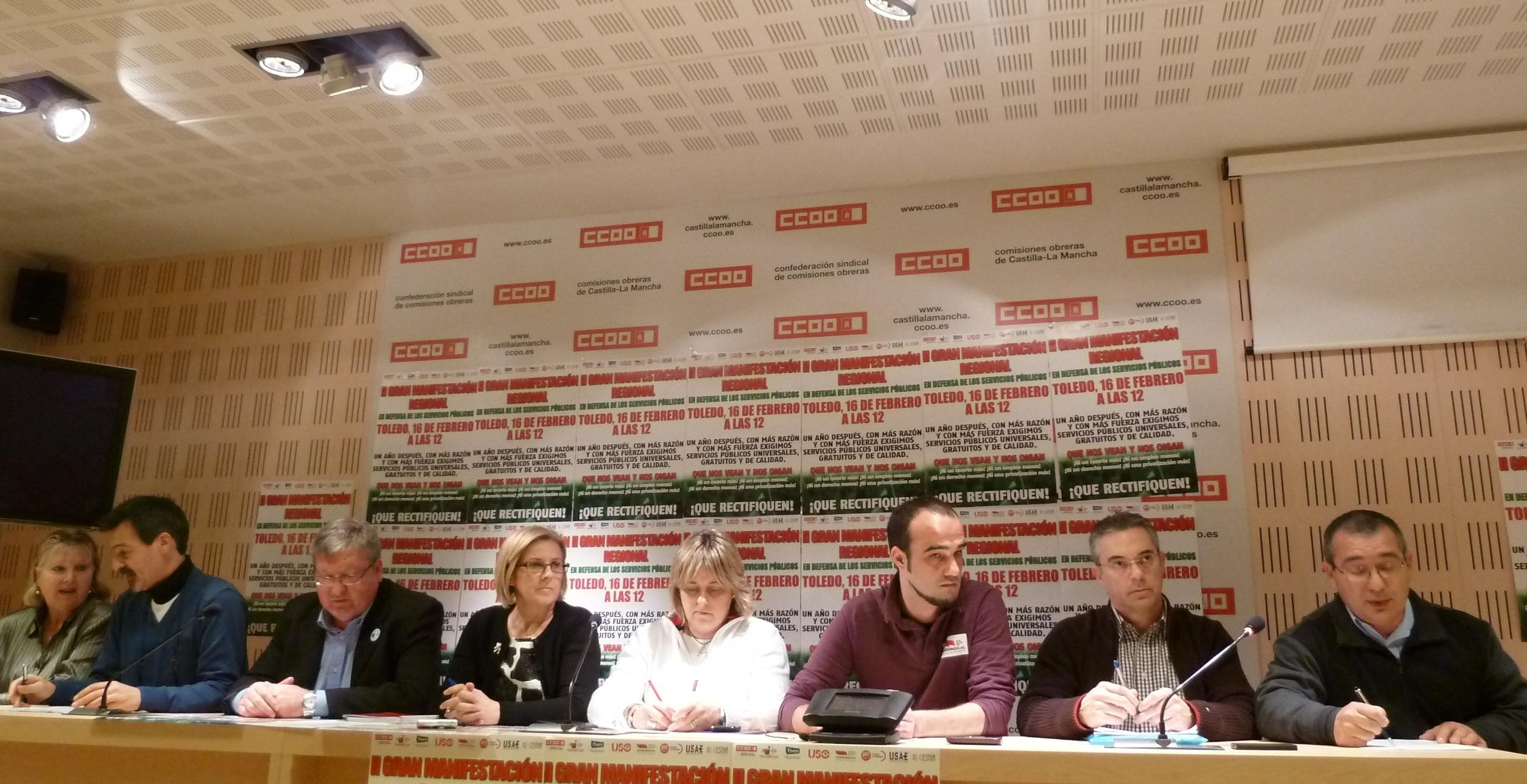 Sindicatos llaman a movilizarse a los castellano-manchegos el 16 de febrero contra «recortes» del Gobierno de Cospedal