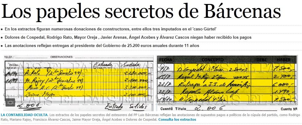 El País publica «los papeles secretos de Bárcenas», con pagos a la cúpula del PP