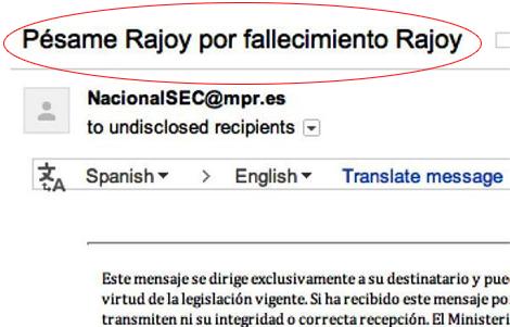 Moncloa envía una nota por error: «Pésame de Rajoy por fallecimiento de Rajoy»