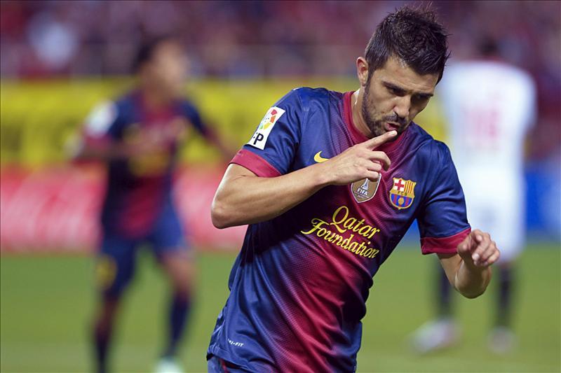 Villa, segundo máximo goleador del Barça pese a ser el 15º en minutos jugados