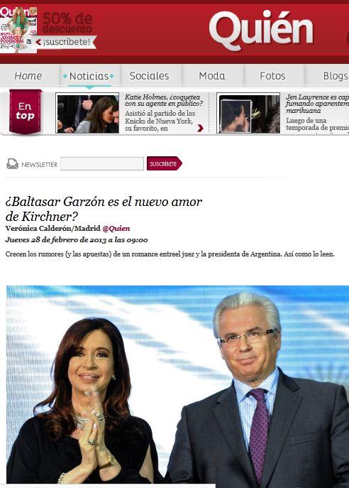 Una revista mexicana intenta liar a Baltasar Garzón y Cristina Kirchner