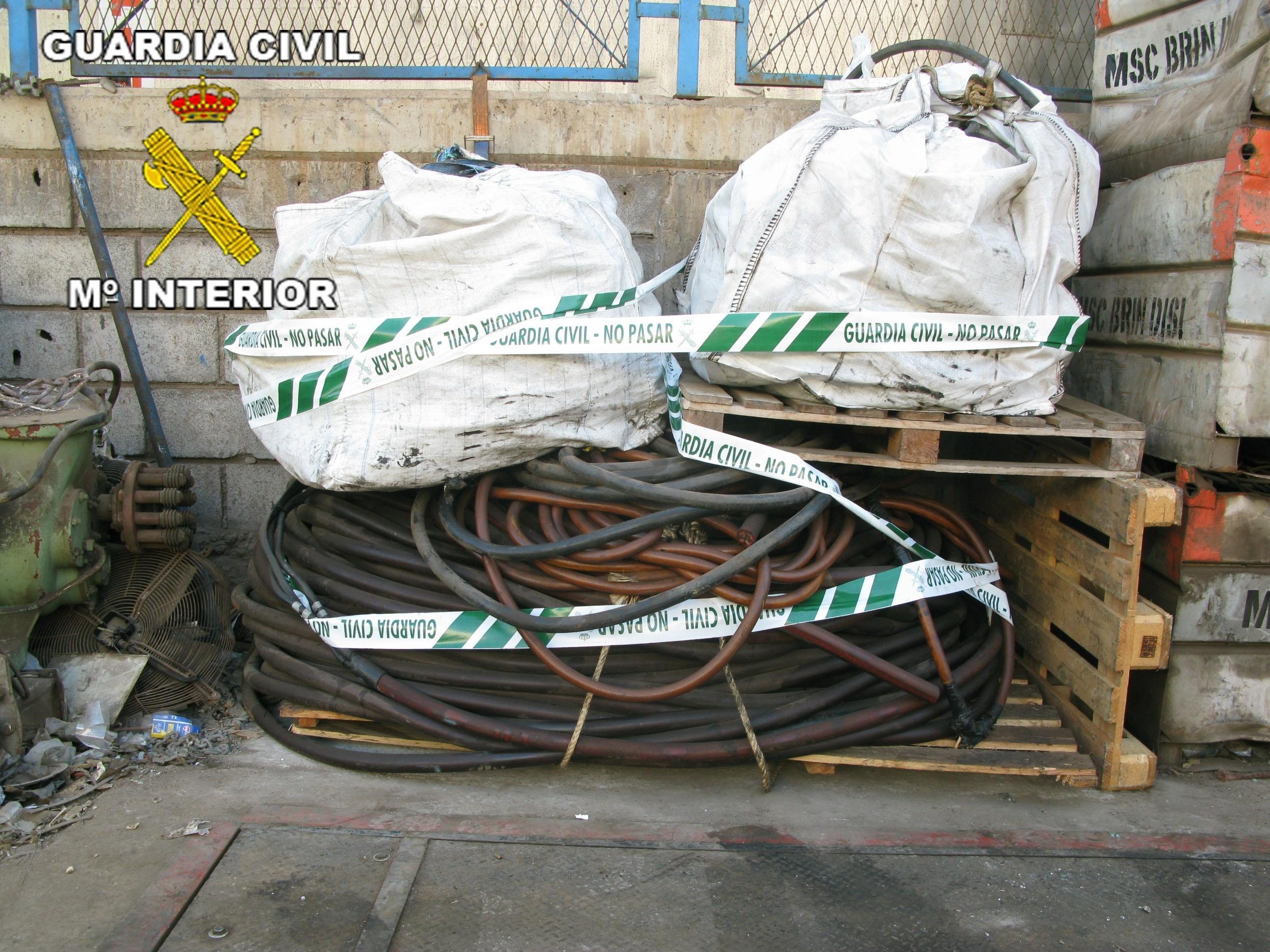 La Guardia Civil imputa a dos personas e interviene casi dos toneladas de cobre robado en Gran Canaria
