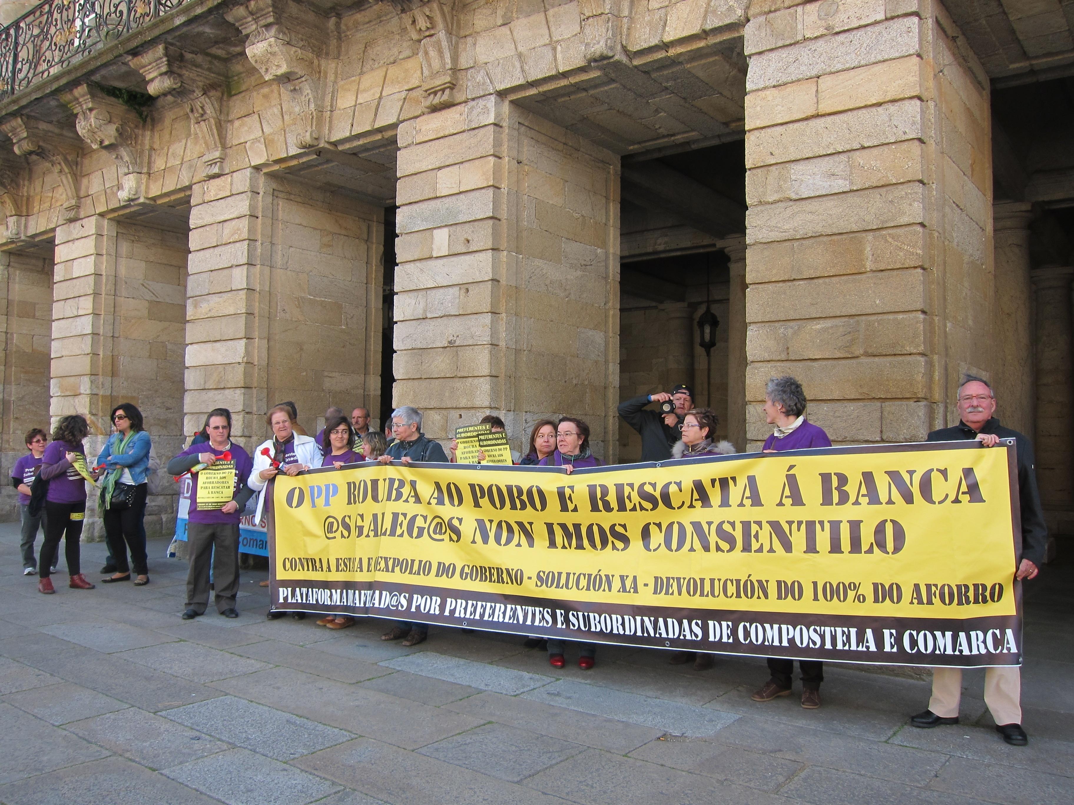 Preferentistas reclamarán el sábado en Santiago la devolución de sus ahorros y que «sea la banca quien pague el rescate»