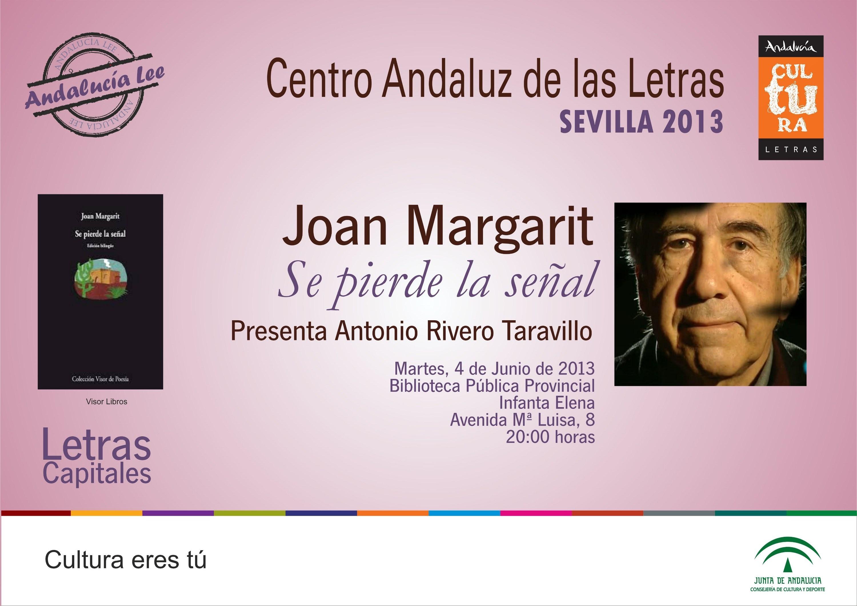 Joan Margarit presenta este martes su nuevo poemario »Se pierde la señal» dentro de »Letras capitales»