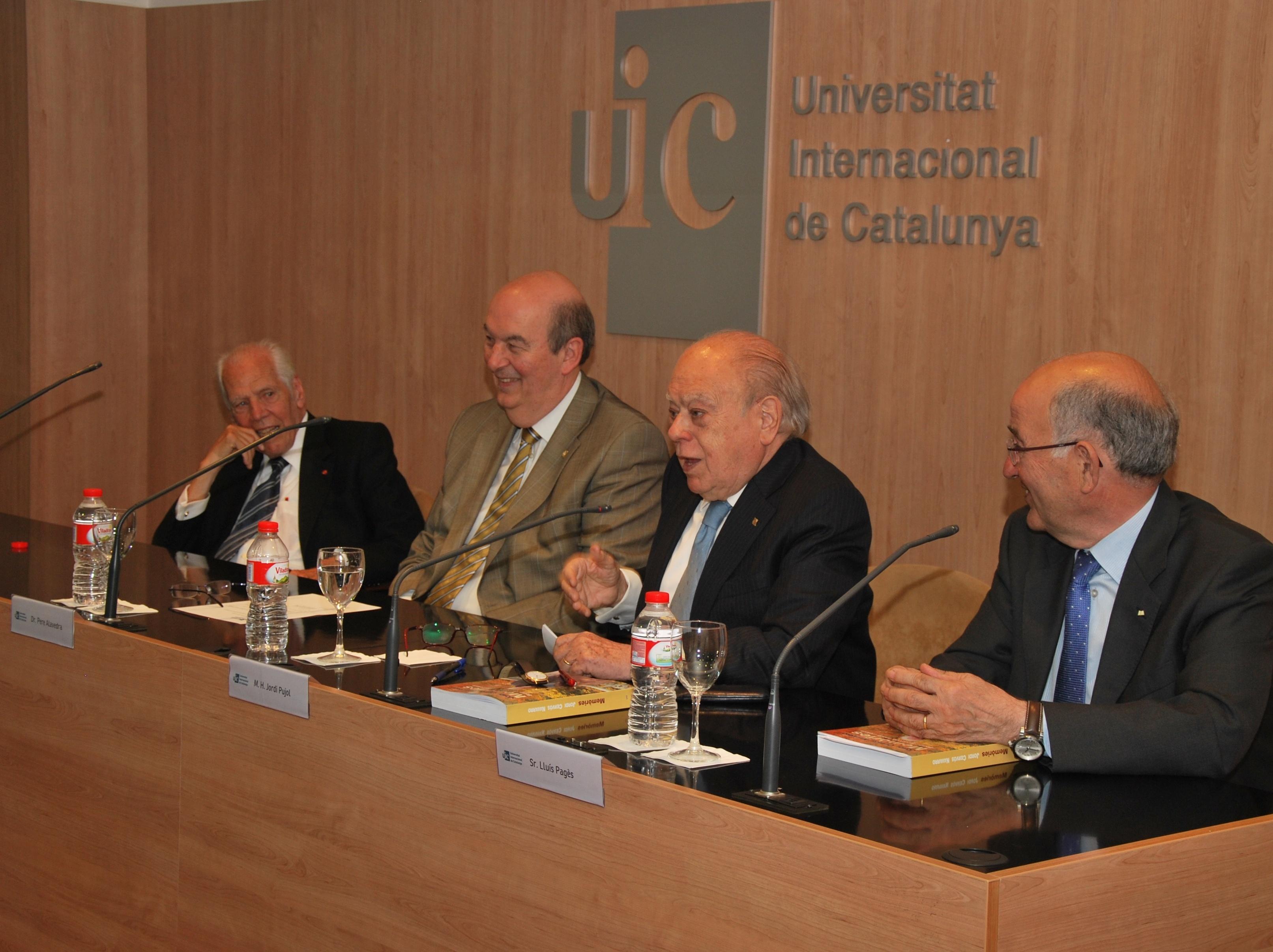 Pujol resalta la «voluntad» del exrector de la UIC Jordi Cervós en la presentación de sus memorias