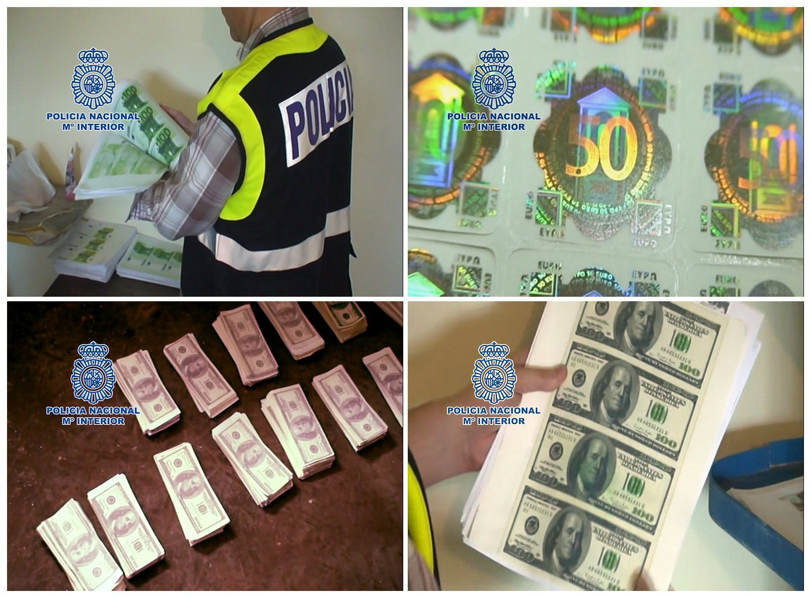 Policías españoles ayudan a cerrar un centro de billetes falsos en Bogotá
