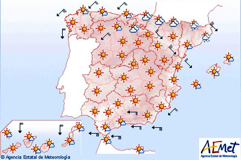 Temperaturas en ascenso y cielo despejado en casi toda España