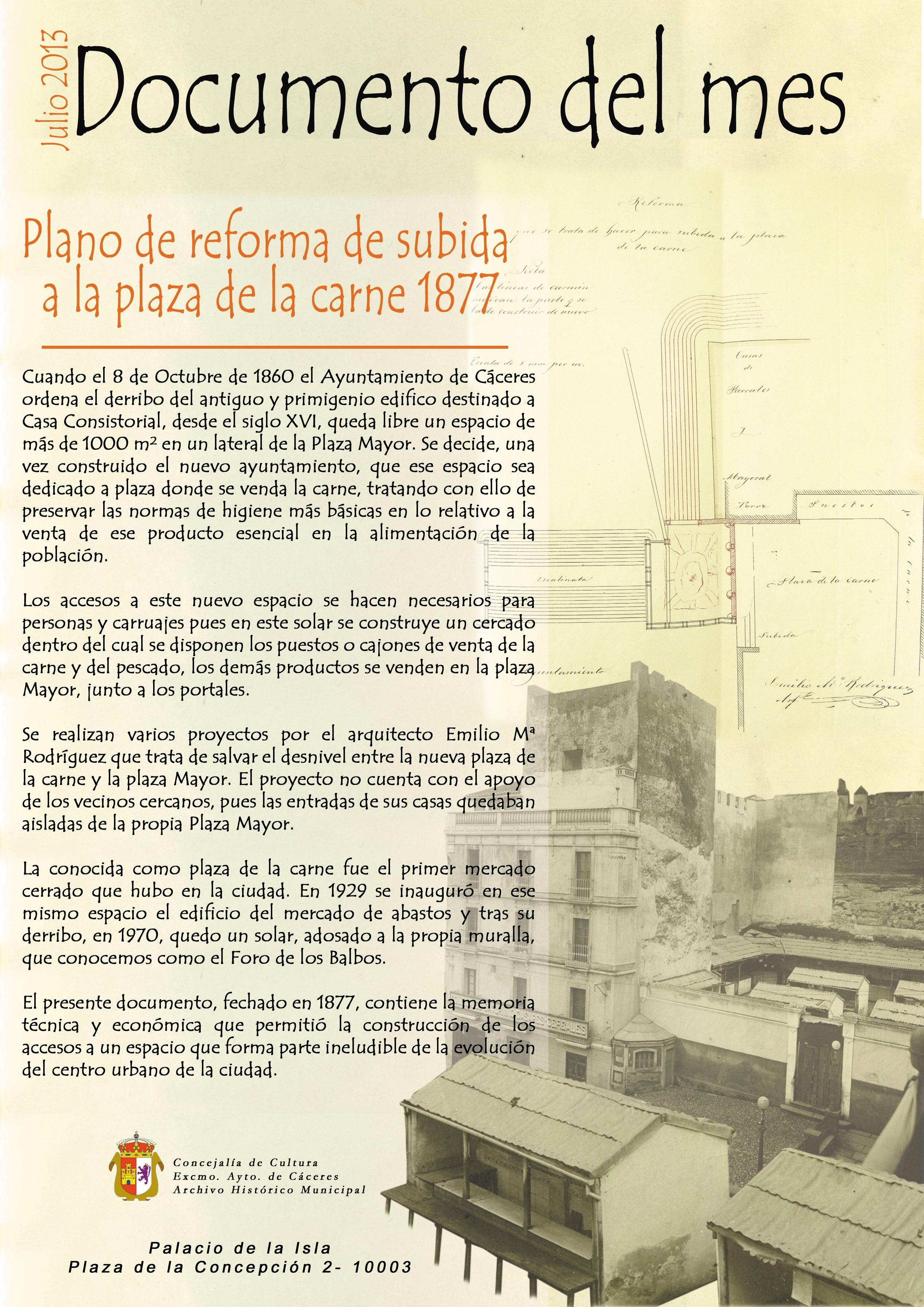 El Palacio de la Isla de Cáceres expone desde este lunes el plano de reforma de la »Plaza de la Carne»