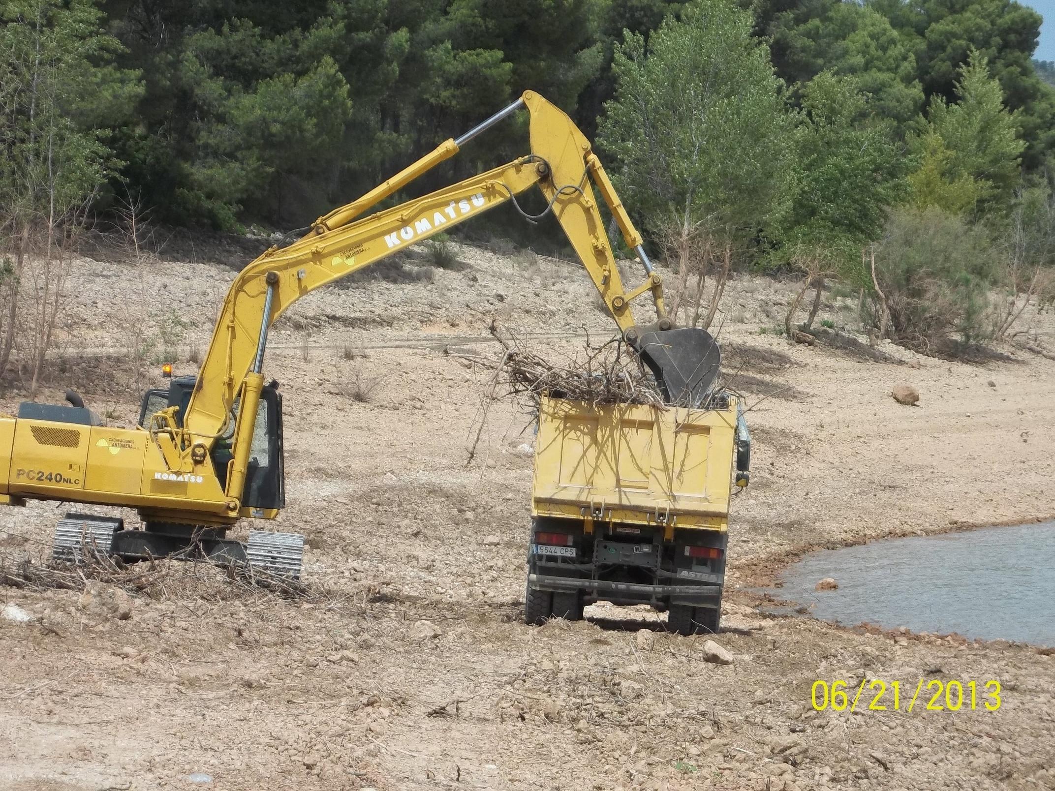 La CHS retira chopos secos del lecho del pantano del Talave en Albacete para facilitar la práctica de pesca