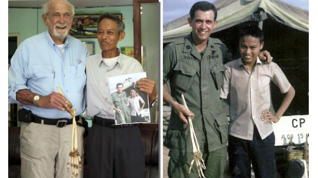 Un soldado vietnamita recupera un brazo que le amputaron en 1966