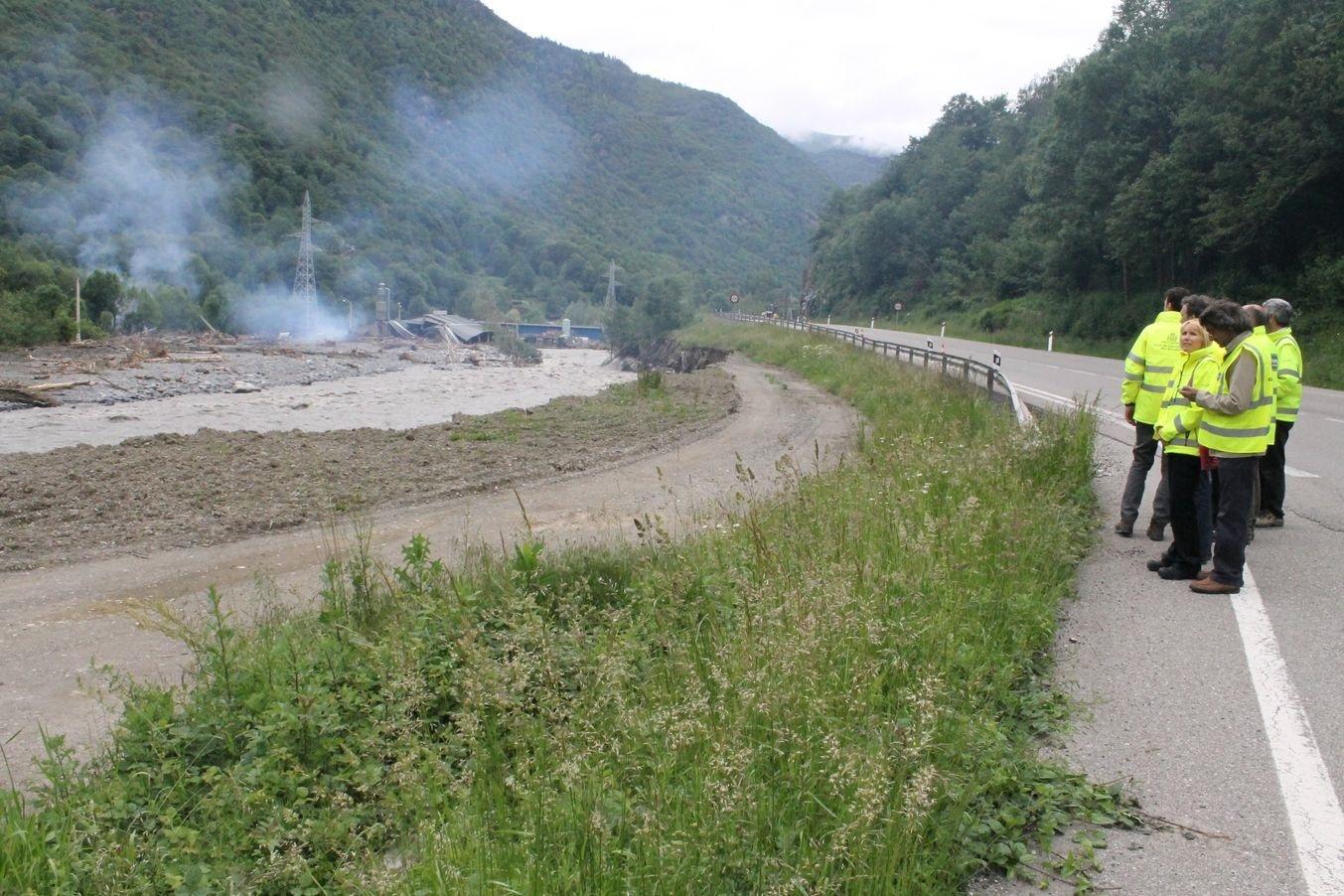 Fomento abre el trazado original de la N-230 en el Val d»Aran dañada en las inundaciones