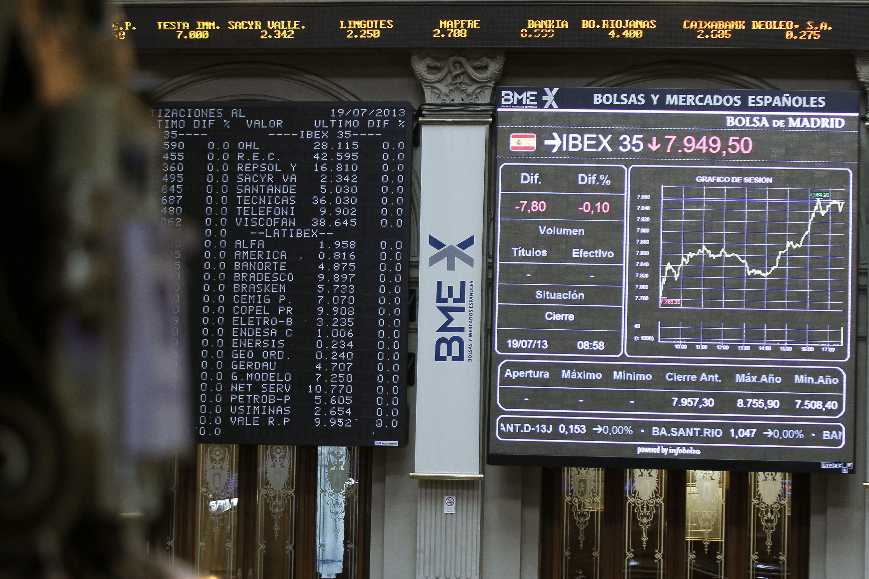 El IBEX cede el 0,19 por ciento a mediodía en sintonía con las bolsas europeas