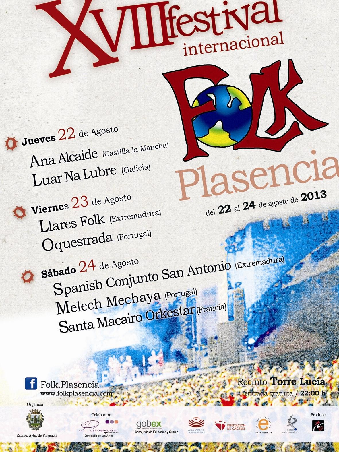 »Luar Na Lubre» y »Oquestrada», entre las formaciones que actuarán el XVIII Festival Internacional Folk de Plasencia