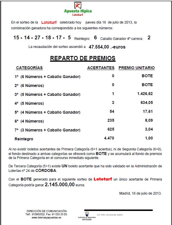 Resultado del Lototurf 18/07/2013