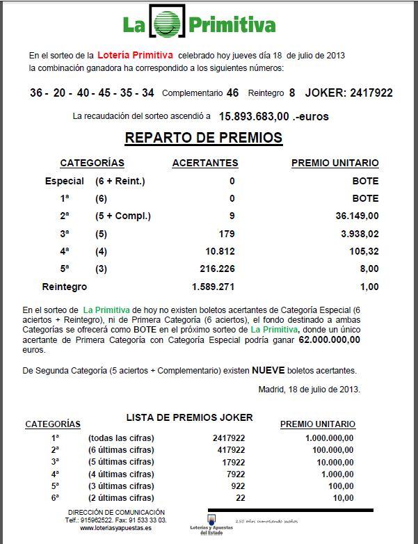 Resultado de la Primitiva 18/07/2013