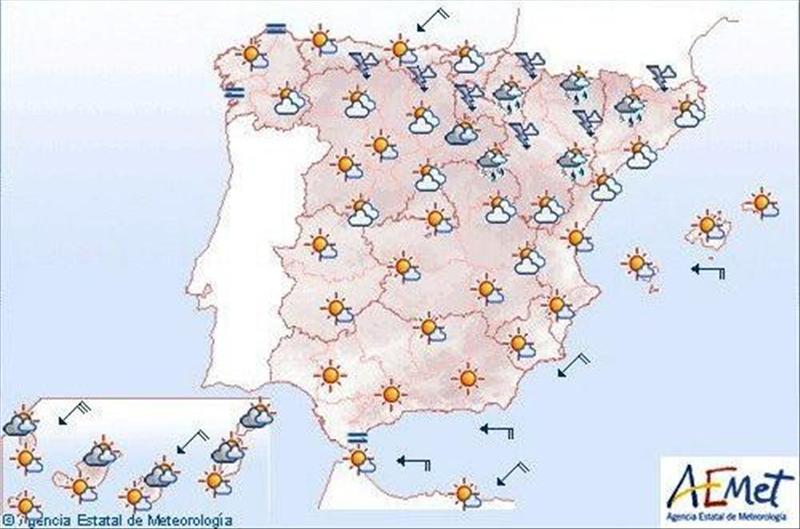 Temperaturas altas en el centro y sin nubes en casi toda la Península