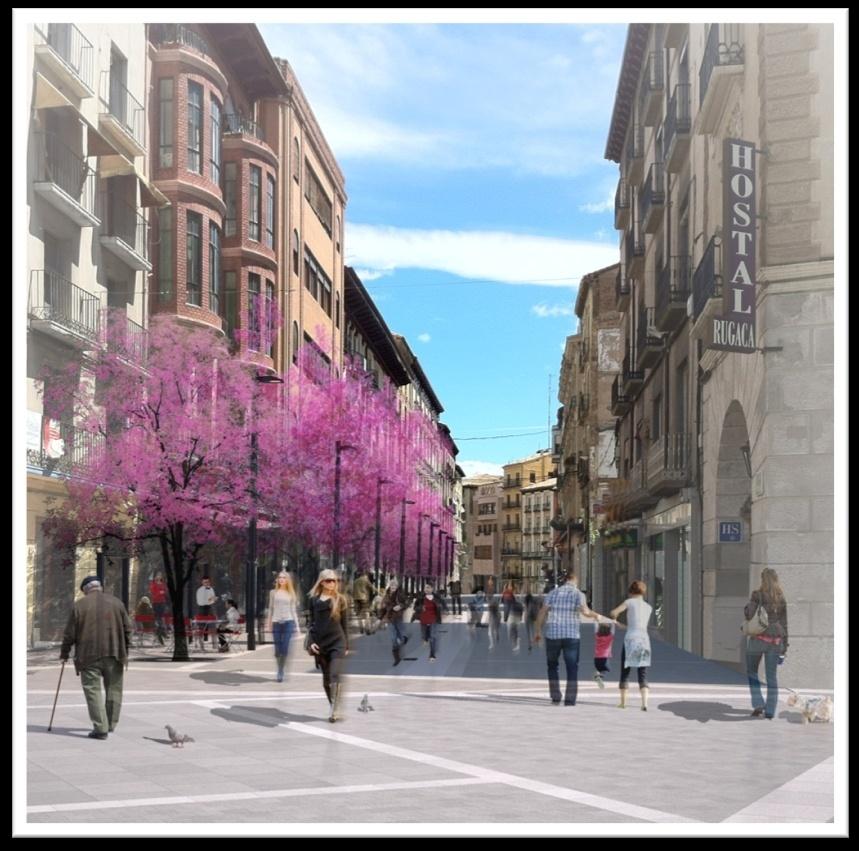 Las obras del Coso Bajo de Huesca pararán durante la Navidad