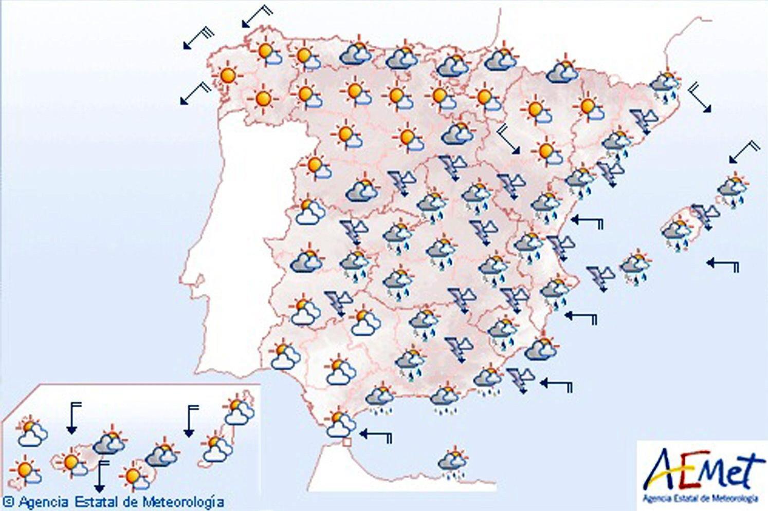 Chubascos o tormentas localmente fuertes en el sureste e Ibiza