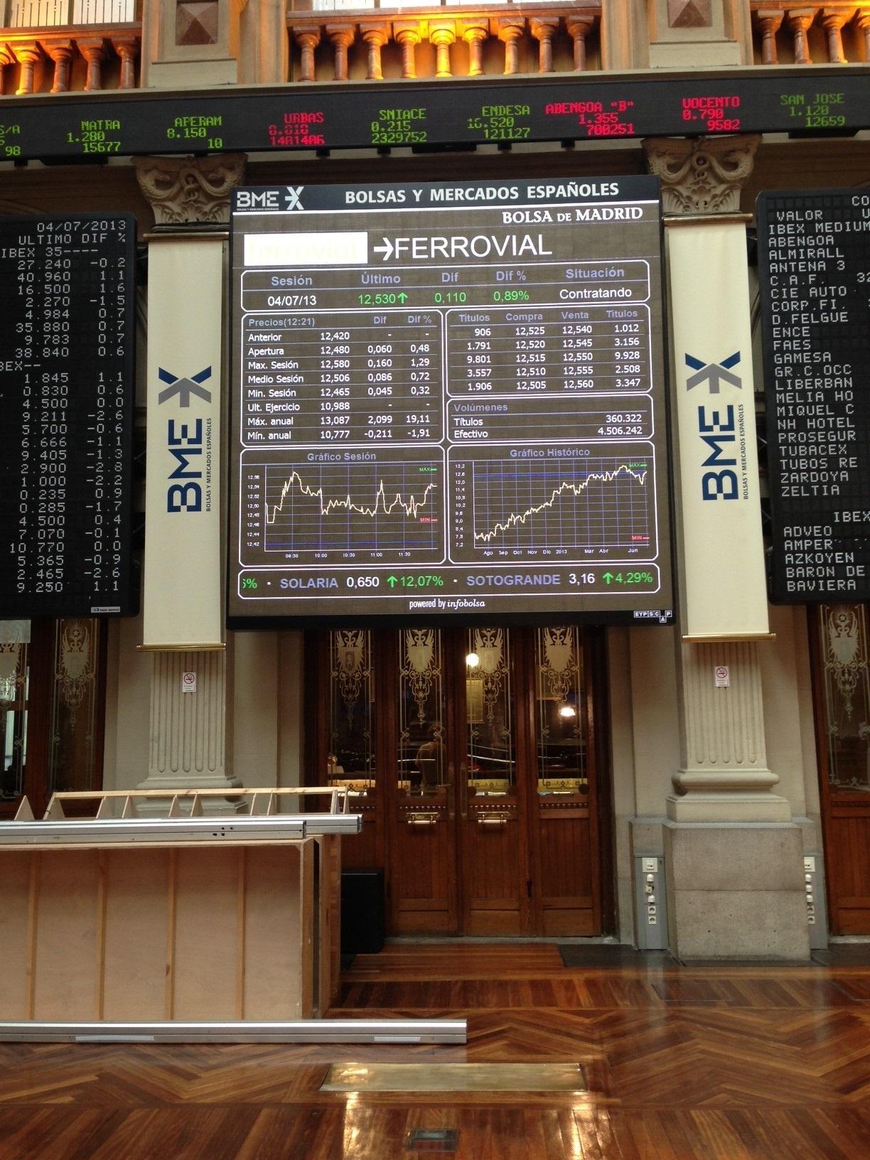 El Ibex prolonga su caída a media sesión hasta el 1,13% y se erige como »farolillo rojo» en Europa