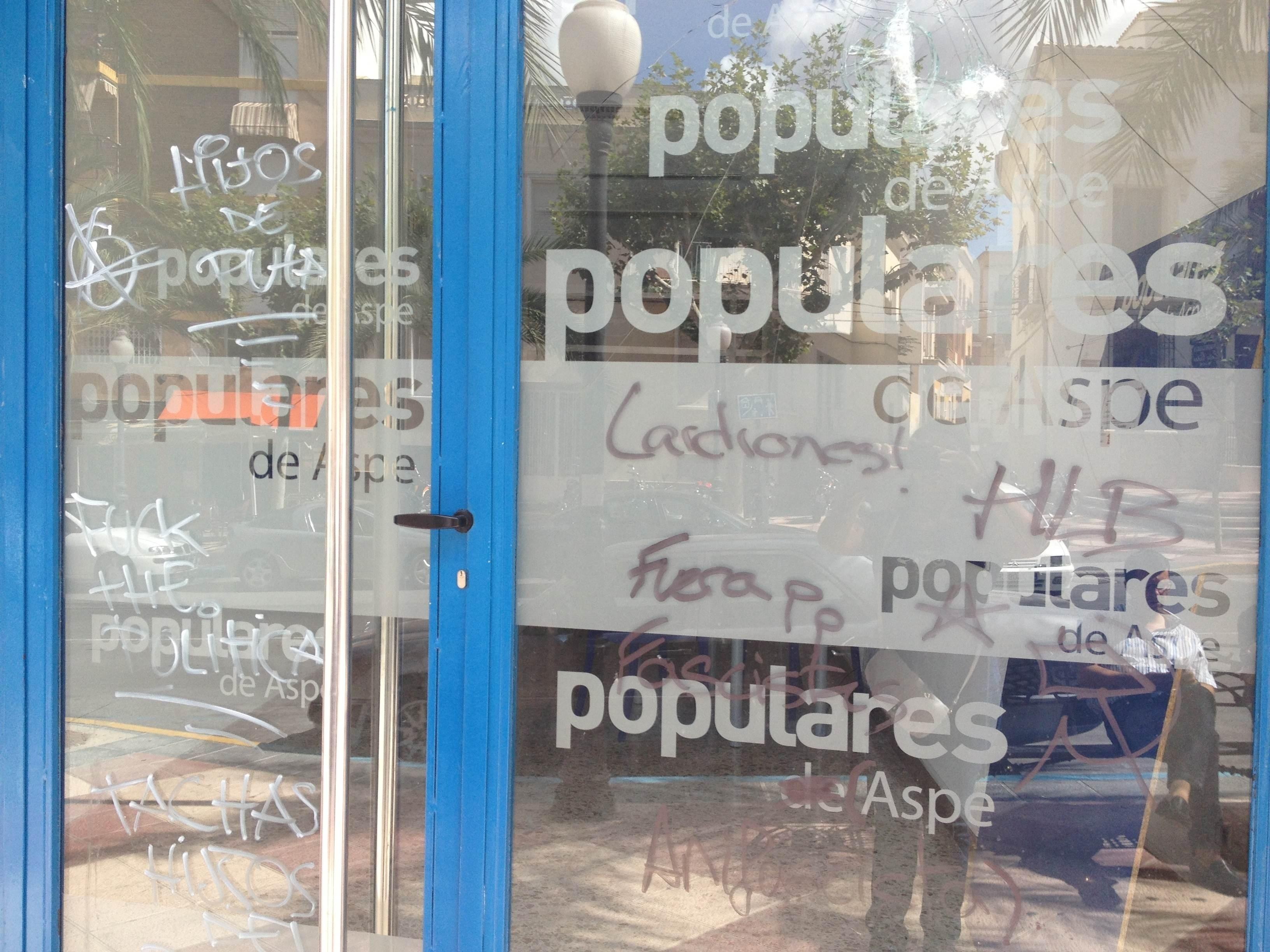 El PP de Aspe denuncia ante la Guardia Civil ataques vandálicos a su sede