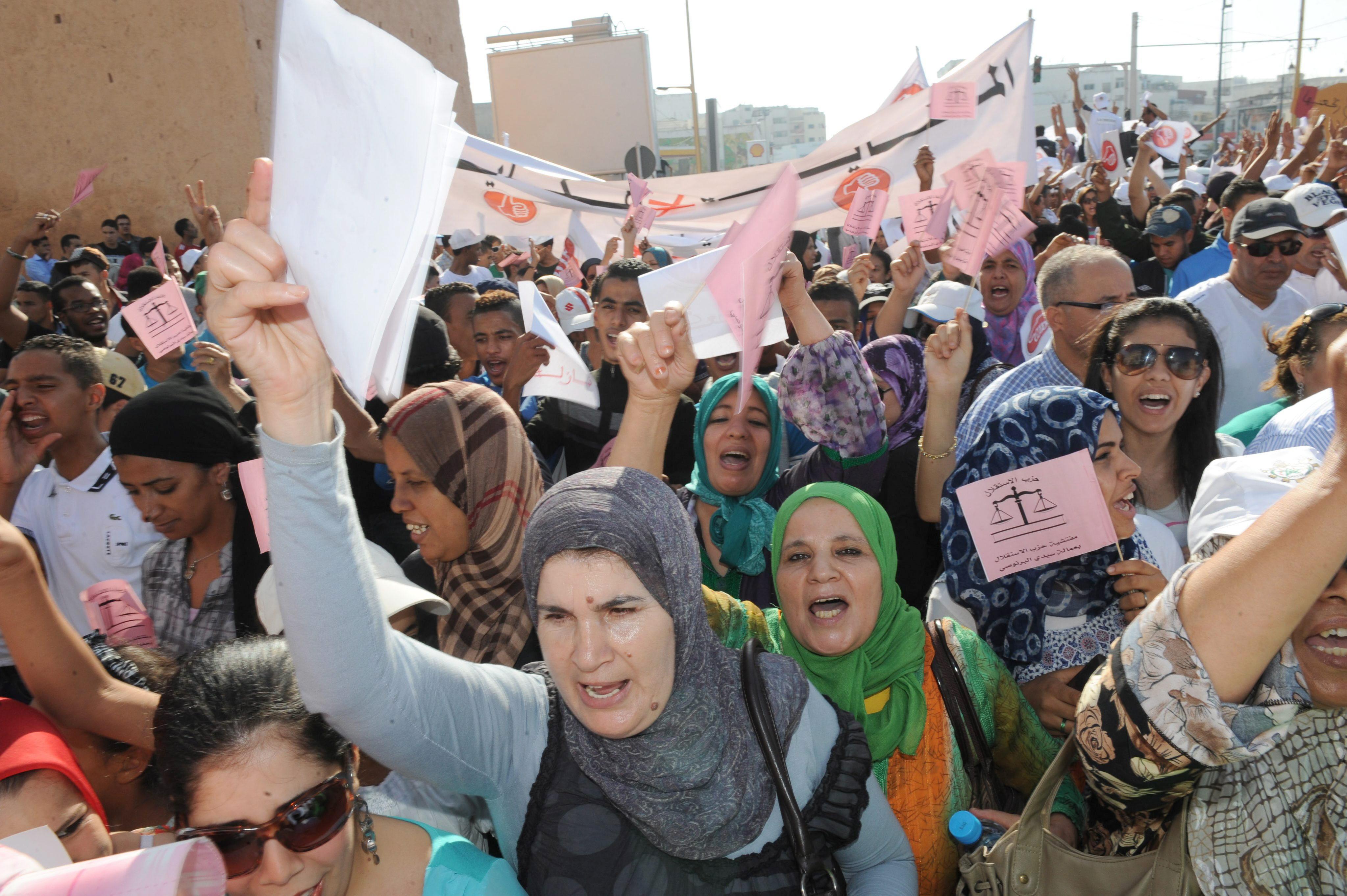 Dos mil marroquíes en la primera protesta pública del Istiqlal contra el Gobierno