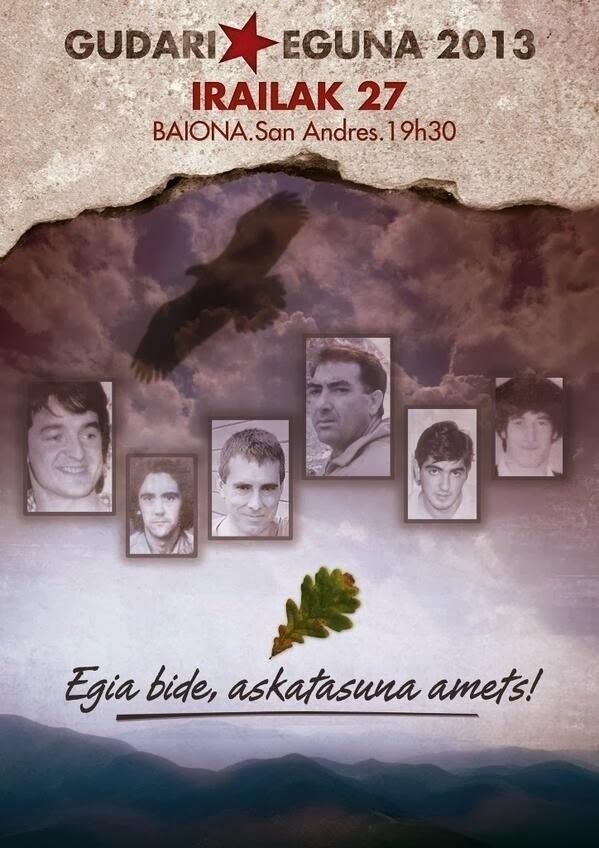 Un cartel con la imagen de etarras como »Thierry» convocan a asistir a un acto por el Gudari Eguna esta tarde en Bayona