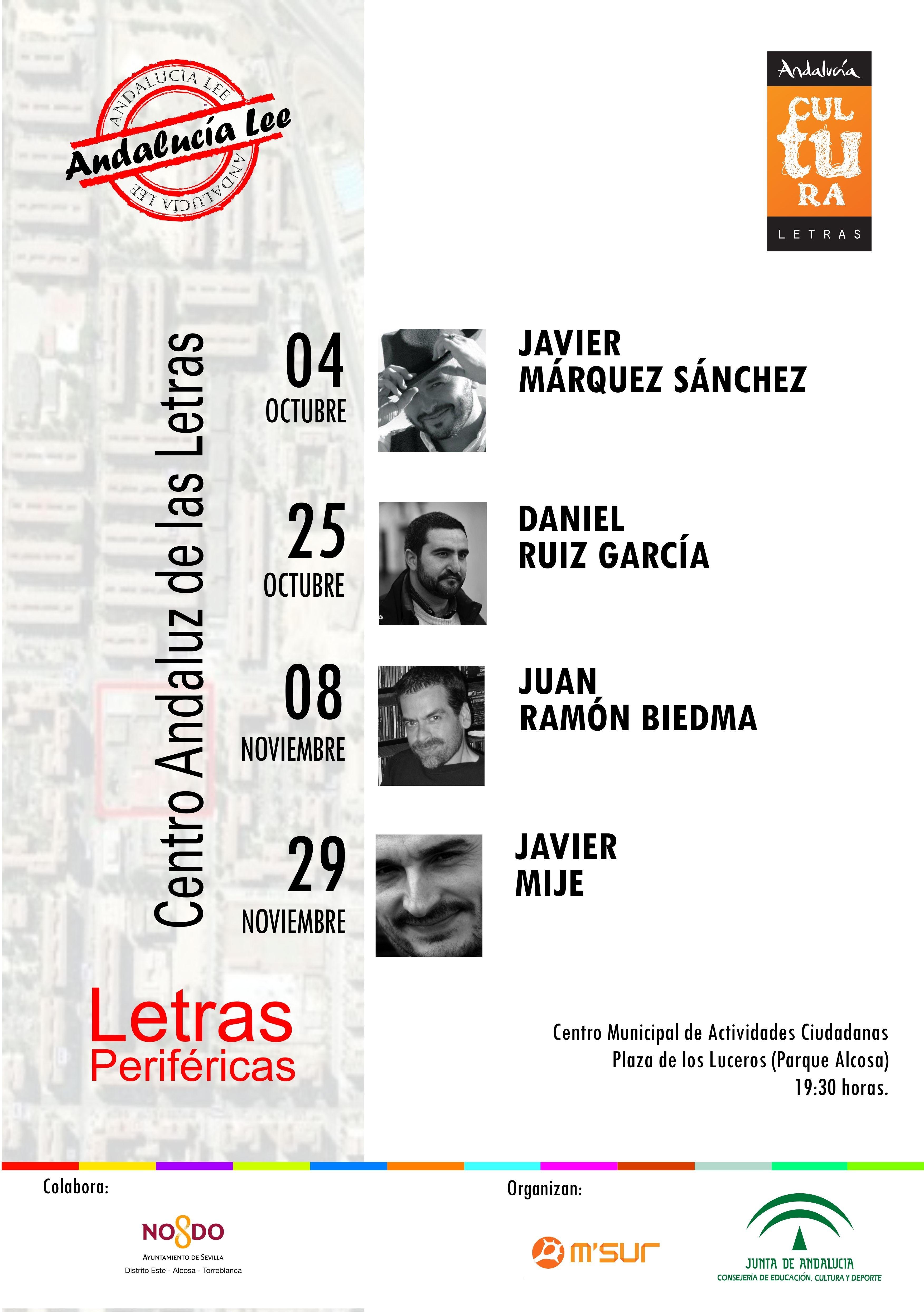 El CAL y Distrito Sevilla-Este presentan el programa de encuentros literarios »Letras Periféricas»