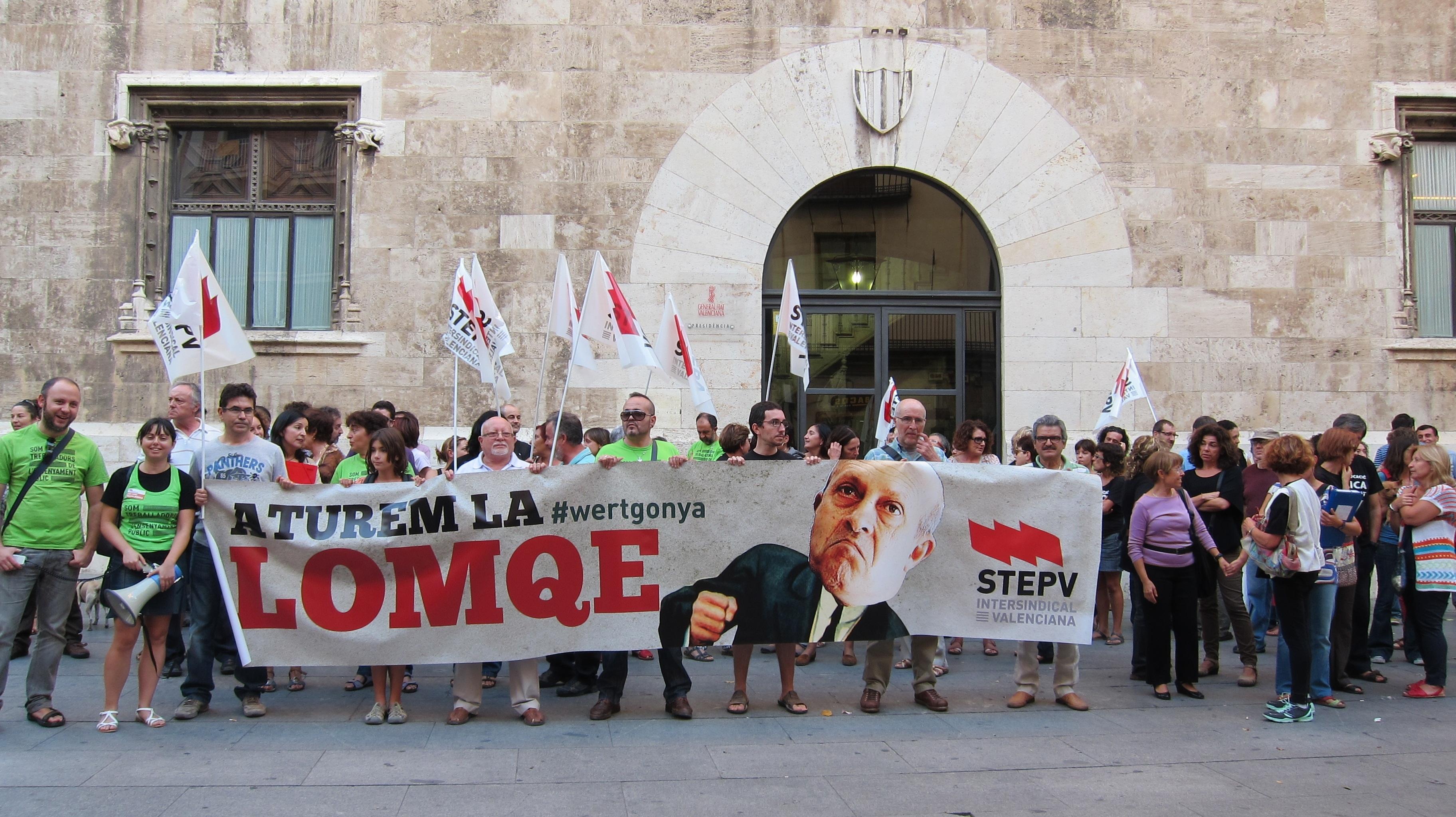Decenas de docentes manifiestan en Valencia su «vergüenza» ante la aprobación de la LOMCE