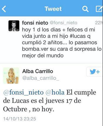 El no cumpleaños del hijo de Fonsi Nieto y Alba Carrillo enciende la red