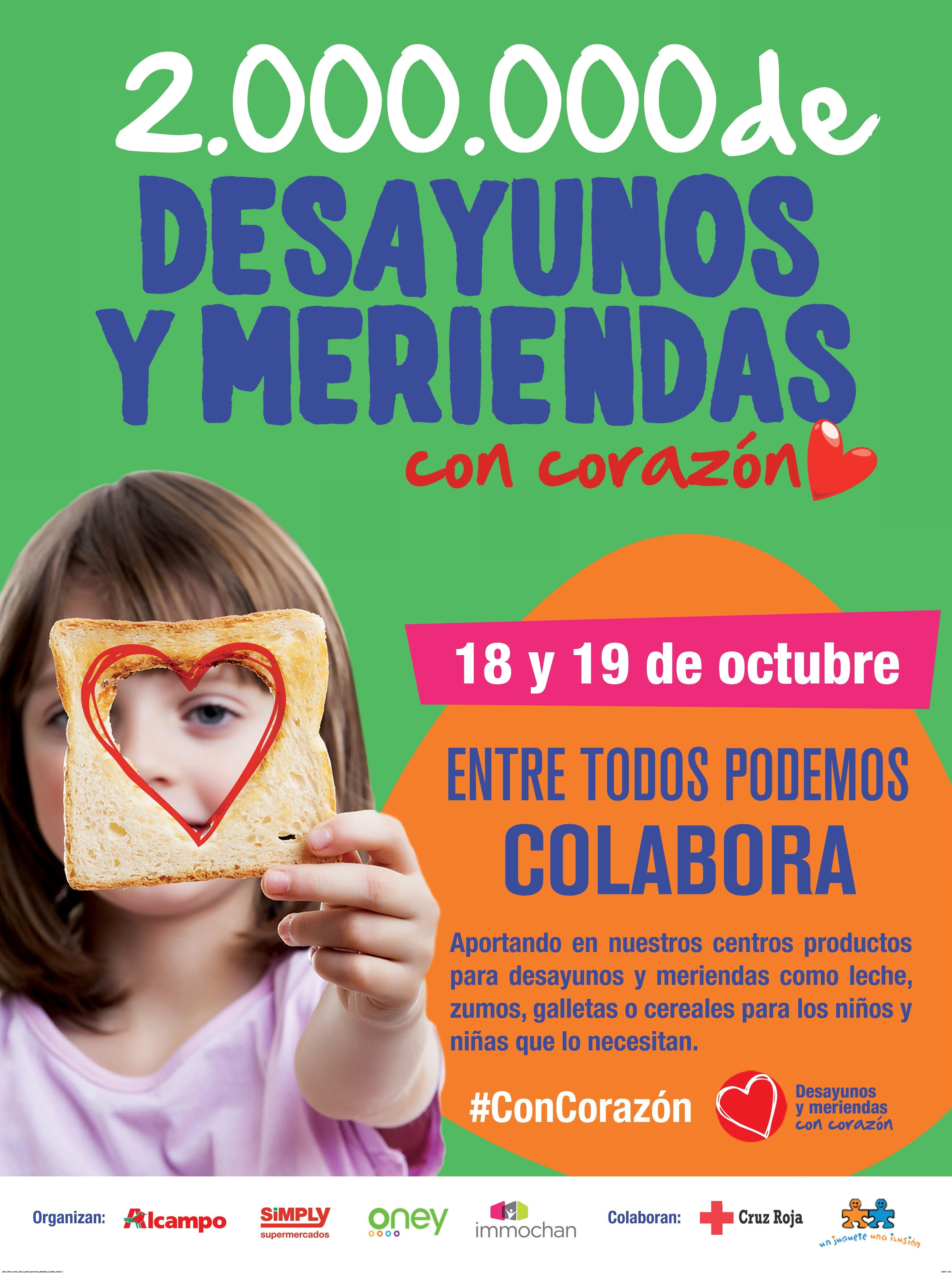 Grupo Auchan lanza desde mañana la campaña #ConCorazón para lograr dos millones de desayunos y meriendas para niños