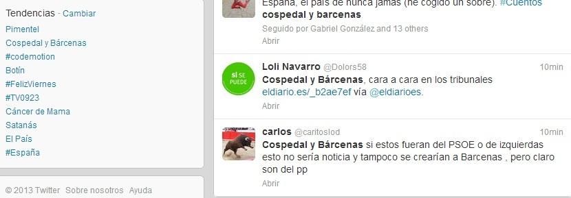 El juicio de Cospedal y Bárcenas en Toledo, trending topic en Twitter