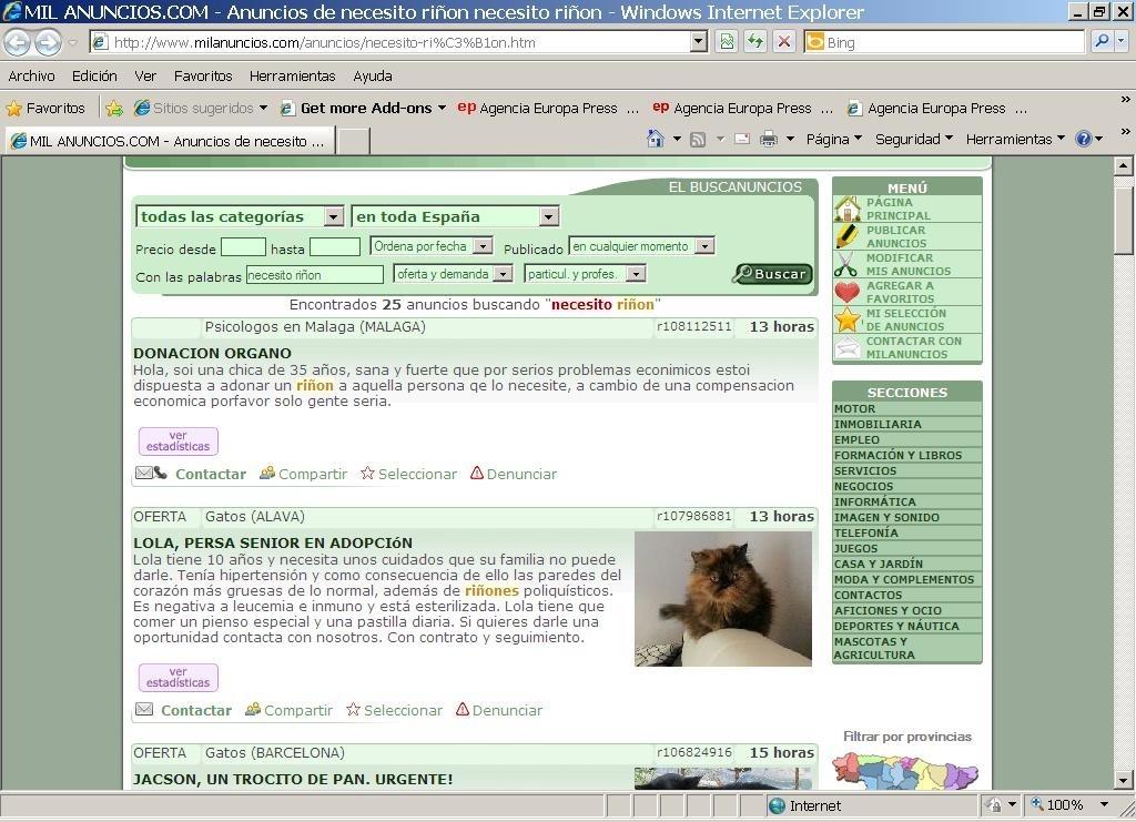 La ONT denuncia a la Guardia Civil de la existencia de «diferentes anuncios» de venta de órganos de un portal web