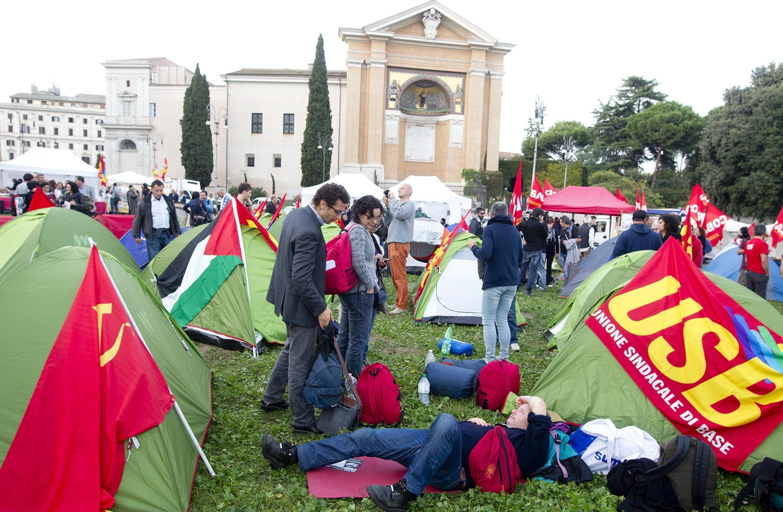 Roma en alerta por posible violencia en las manifestaciones contra la austeridad