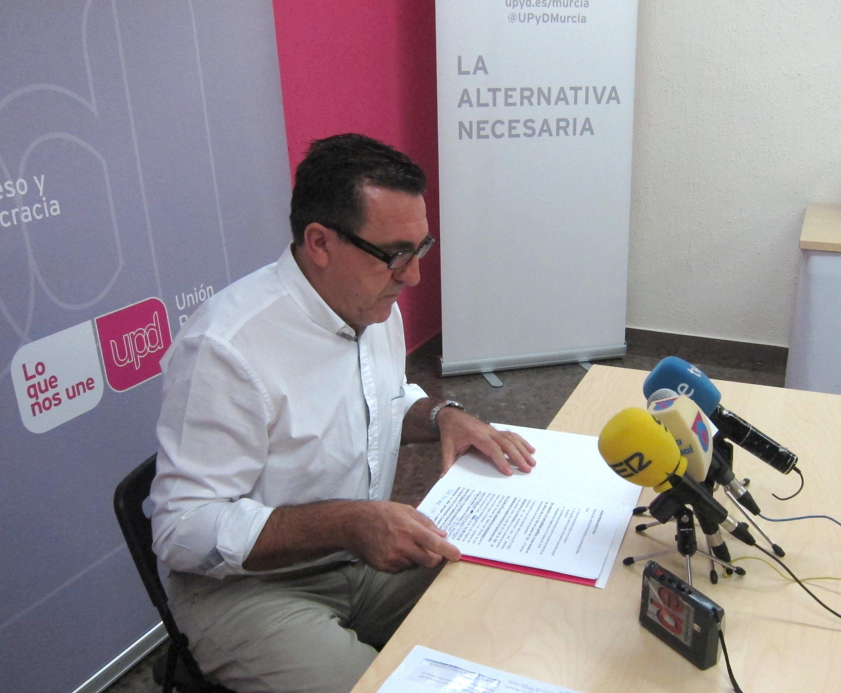 Sánchez dice que UPyD no apoya reforma Estatuto de Autonomía Murcia «porque no es necesario más poder al Ejecutivo»