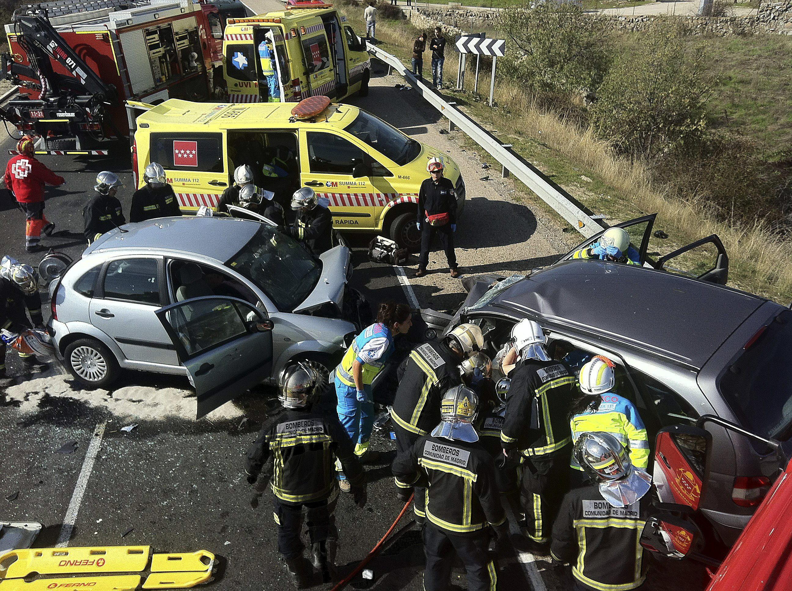 Un fallecido y dos heridos graves en un choque frontal en la M-607 (Madrid)