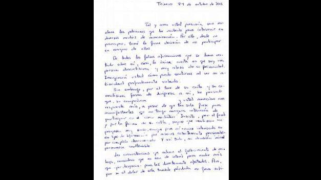 Esta es la carta íntegra de Rosario Porto al programa »Abre los ojos…y mira»