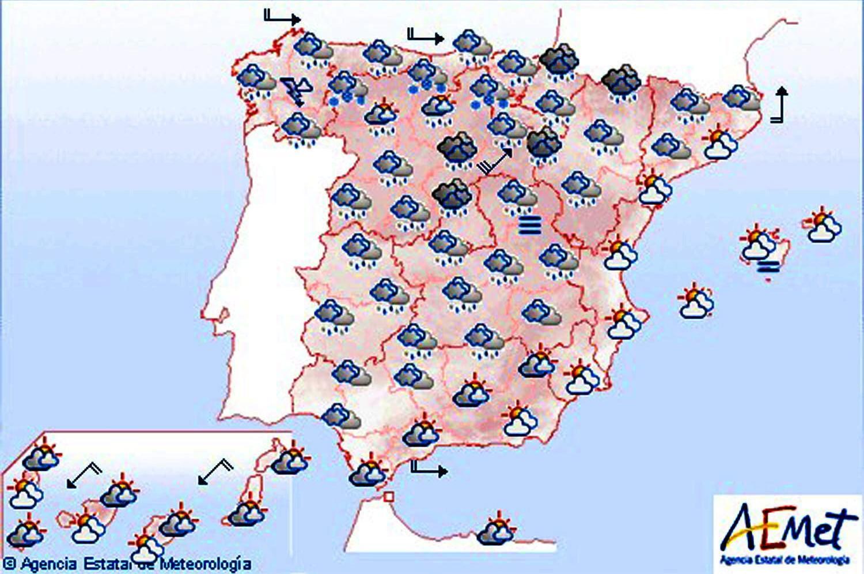 Cielos nubosos en la Península y lluvias fuertes en el Cantábrico y Baleares