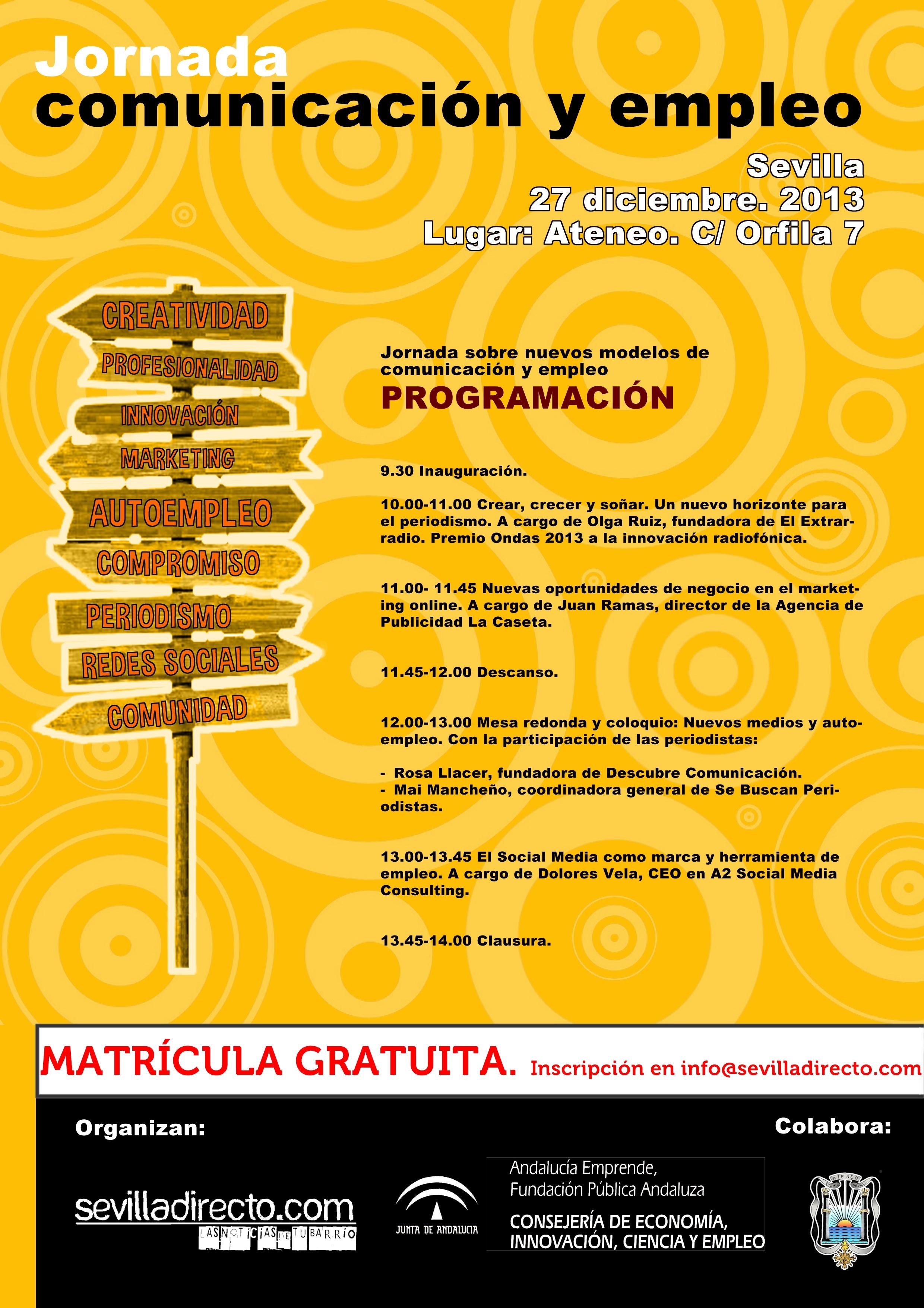 El Ateneo acoge este viernes 27 de diciembre una jornada gratuita sobre comunicación y empleo