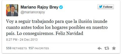 Rajoy felicitó la Navidad a todos en Twitter media hora antes de que hablara el Rey