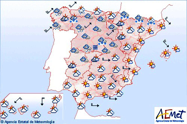 Viento fuerte en Galicia, Cantabria, este peninsular y Baleares